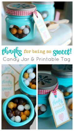 Printable gift tags and DIY candy jars come together to create these sweet treats! Perfect as party favors and thank you gifts! Candy Gifts, Jar Gifts, Teacher Appreciation Gifts, Teacher Gifts, Volunteer Appreciation, Christmas Candy, Christmas Diy, Christmas Stuff, Easy Homemade Gifts