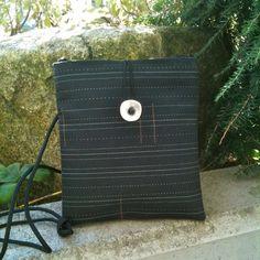 Small Shoulder Bag in Jet Pinstripe by sandrassatchels on Etsy, $35.00