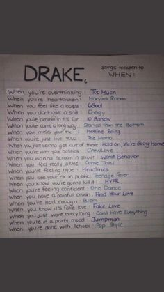 Drake Songs by How You Feel Music Mood, Mood Songs, Arley Queen, Drakes Songs, Song Recommendations, Song Suggestions, Song Playlist, Song List, Entertainment