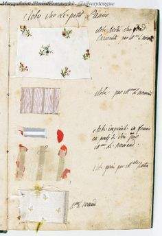 "labelleotero: "" vivelareine: "" A page from Marie Antoinette's wardrobe book from [credit: Archives nationales] "" Just FYI: you can buy a reproduction of La Gazette des atours de Marie. Marie Antoinette, Bourbon, Commonplace Book, French History, 18th Century Fashion, French Revolution, Historical Costume, Historical Clothing, Vintage Textiles"
