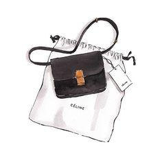 Good objects - Céline black box bag as seen on @mija_mija #minimalism #ootd #fashionblogger #illustration #watercolour #art #goodobjects