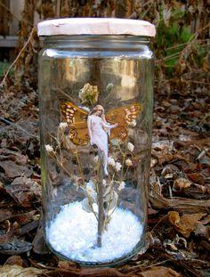 Winter Butterfly Fairy in a Jar  Tall by wanderingmermaid on Etsy, $15.00