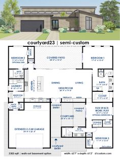 specializes in contemporary & modern house plans. We offer custom home design services, semi-custom home plans, in stock houseplans, mid-century modern inspired plans, modeling and drafting services. Dream House Plans, Modern House Plans, Small House Plans, Modern House Design, Dream Houses, Custom Home Plans, Custom Homes, Casa Patio, House Layouts