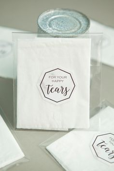 "Using individual tissues, treat bags and our free printable labels - you can make the most darling little ""happy tears"" favors for your wedding guests!"