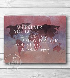 Scripture Print, Bible verse inspirational quote arrow print wall art decor poster, typography digital - Where you go I will go