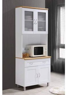 Hodedah Imports Kitchen Cabinet with Hutch Countertop Microwave White China Storage Buffet Shelf - Sears Shelves, Free Standing Kitchen Cabinets, Clean Kitchen Cabinets, Kitchen Pantry Cabinets, Kitchen Stand, Stock Cabinets, Kitchen Standing Cabinet, Kitchen Renovation, Tall Kitchen Cabinets