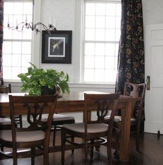Dining Room Farmhouse Table Flower Drapes Wallpaper Fireplace Candle Chandelierwainscoting