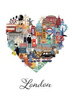 Love #London #illustration http://www.viajaralondres.com/ #Londres