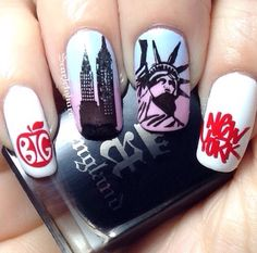 New York City nails by Usa Nails, Aycrlic Nails, Nail Manicure, Nail Swag, Halloween Nail Colors, Birthday Nail Art, Patriotic Nails, Uñas Fashion, City Nails