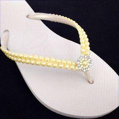 57c1a697eb0bb6 Yellow Pearl Flip Flops Custom Havaianas Slim White Butter Cream Daffodil  w  Swarovski Crystal Filigree Bridal Bridemaid Beach Wedding Shoes