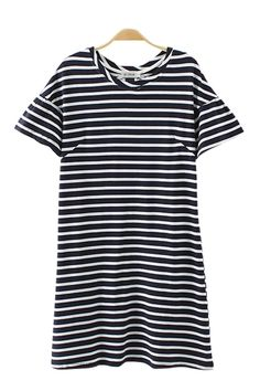 Cute striped dress to wear with riding boots