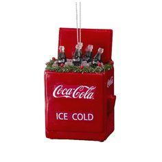 "The Jolly Christmas Shop - Kurt Adler 4"" Coca-Cola Cooler Ornament, $15.99 (http://www.thejollychristmasshop.com/kurt-adler-4-coca-cola-cooler-ornament/)"