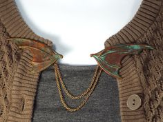 Dragon Wing Fantasy Cloak Clasp Sweater Clip Jewelry, Brass with Verdigris…