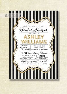 Gold and black bridal shower invitation #wedding #gold #goldblack #bridalshower #invitations
