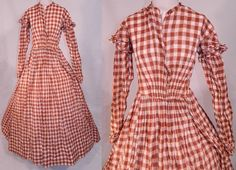 "Civil War Brown White Plaid Check Cotton Muslin Dress | eBay Hand stitched, made of a fine cotton muslin fabric, orange-brown color & white checkered plaid pattern design. High neckline, band collar, long tapered sleeves with ruffle trim along top, fitted waist with ruched details on front, long floor length full hoop skirt, a white cotton modesty panel insert with hook closures on the front and the skirt is unlined. Dress measures 56"" long, 26"" waist, 32"" bust, 14"" back & 23"" long sleeves."