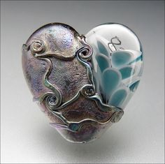 AQUA BLUE HEART - Lampwork Heart Pendant Bead | by Beads by Stephanie