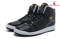ADIDAS High Tops Shoes Mens DECADE Fur Lining Leather Black