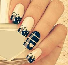 One of the fun things about being a girl is doing nails! Nail art designs for girls are plenty from stripes to polka dots, from Hello Kitty nail designs to Cartoons and Barbie Nails and they all definitely look fabulous. Great Nails, Fabulous Nails, Gorgeous Nails, Amazing Nails, Blue And White Nails, Blue Nails, White Bows, White Ribbon, Black White
