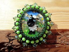 cabochon for jewellery art glass cabochon woodland colours cabochon Large lampwork cabochon large cabochon handmade glass cabochon