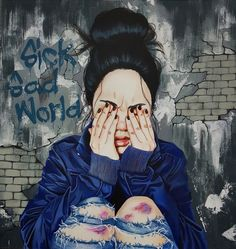 Feeling beat up? (Six, Sad World by Harumi Hironaka)    Fibromyalgia / Fibro / Spoonie / Chronic Illness / Fibromyeverything