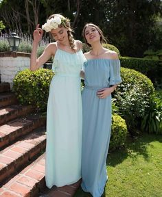 Beautiful blue tones. Soft and whimsical, perfect romantic Bridesmaids dresses. Our Joanna August gowns now in store at Nora and Elle.