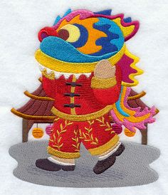 ** Fisherman Fred in China Block Of The Month Pattern Used As Applique Quilt @emlibrary