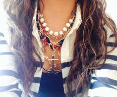 Nautical sailor jewelry! Love the layers
