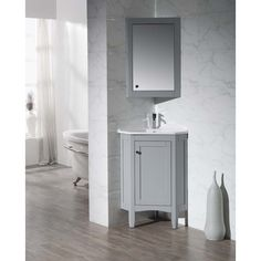 Images Of Spruce up your bathroom decor with this smart and stylish Stufurhome Monte Corner Bathroom Vanity with Medicine Cabinet This Corner Bathroom Vanity offers