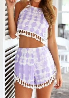 Purple two piece summer outfits