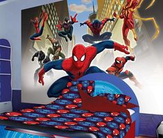 Inspiring Room Design For Your Children Bedroom With Spiderman Room Ideas: Enchanting Spiderman Room Ideas With Blue Ceiling And Book Shelves Also Light Wooden Flooring Kids Bedroom Dream, Boys Bedroom Paint, Cool Kids Bedrooms, Boys Bedroom Decor, Boy Decor, Spiderman Bedroom Decoration, Spiderman Bedrooms, Mural Digital, Boys Bedroom Wallpaper