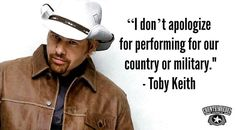 Toby Keith defends his decision to perform at Donald Trump's inauguration. He's a good man with strong character unlike all the other weak and ditsy celebs. Country Singers, Country Music, Truth Hurts, It Hurts, Captain America, Conservative Politics, I Love Music, American Pride, God Bless America