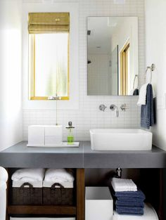 Inspiration from Bathrooms.com: The thick counter slab in the bathoom make it feel every inch like a hotel spa space. #bath #bathroom #spa #wetroom