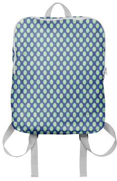 Backpack Green circle pattern on blue #paom #accessories #trends