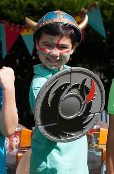 Viking war paint; how to train your dragon party birthday boy