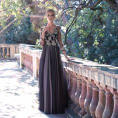 Vestidos Para Formatura 2014 Newest A Line Cap Sleeves Appliqued Evening Gowns Dresses with Sleeves China $153.67