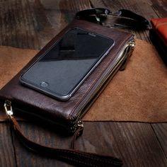 93c55346bcd3 Handmade Leather Mens Cool Long Leather Wallet Slim Zipper Clutch Wris – iChainWallets  Man Clutch