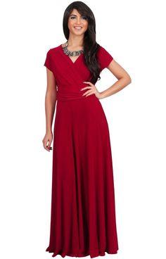 42c2933b9b4 Womens Long Sexy Cap Short Sleeve V-neck Flowy Evening Bridesmaid Maxi Dress  Cap