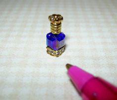 Miniature TINY Perfume Bottle/Crystal Base, COBALT Blue: DOLLHOUSE 1/12 Scale Mini Makeup, Miniature Bottles, Cobalt Blue, Birthday Wishes, Vintage Looks, Dollhouse Miniatures, Swarovski Crystals, Projects To Try, Perfume Bottles