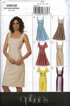 09f348c1097 Vogue Sewing Pattern 8648 V8648 Misses Size 6-12 Easy Sleeve Skirt Summer  Lined Dress Options