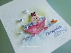 Lulu's Quilling Lab- newborn baby quilled card
