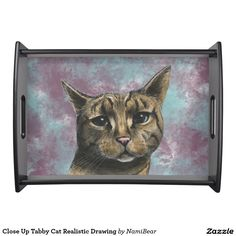 Close Up Tabby Cat Realistic Drawing Serving Tray.  This is a rendering of a tabby cat in close up. She's slightly squinting her eyes and looking at you peacefully. This was drawn with pencil and then colored digitally with pastel. There is abstract painting in the back with blue and purple.