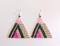Geometric beaded earrings  Disco times 1 by lelapinpolyglotte, $30.00