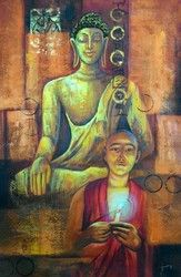 Buddha And Monk - Handpainted Art Painting - 24in X 36in