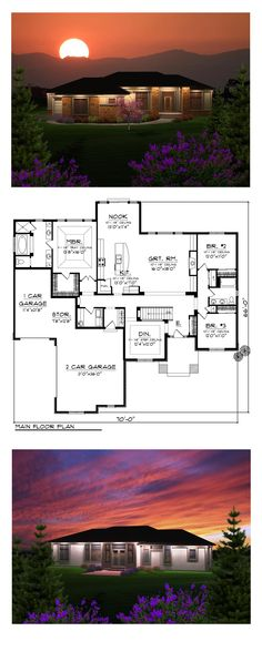 Prairie House Plan 97365 | Total Living Area: 2291 sq. ft., 3 bedrooms and 2 bathrooms. As you enter the home, the spacious great room will draw you in where a fireplace flanked by built-in shelving creates a comfortable living space. #houseplan #prairiehome