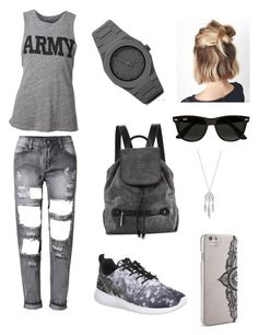 """""""set32"""" by mujo-ziba ❤ liked on Polyvore featuring NLST, NIKE, CC, Halston Heritage, Ray-Ban, Nanette Lepore and Lucky Brand"""