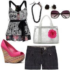 outfit. black n pink.