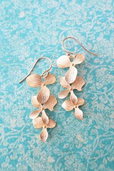 Gold Orchid Flower GOLD FILLED earrings, Wedding Bridal Necklace, Bridesmaid brides jewelry, Gold Boho Garden flower weddings, Rosamunde