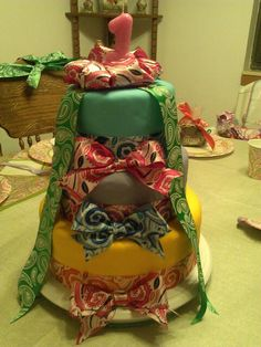 Paisley cake. Layers are strawberry, chocolate, and vanilla cakes, covered in fondant. Sept 2014. Paizlee's 1st birthday.