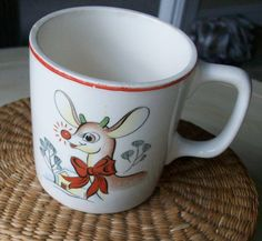 1950's Vintage Rudolph The Red-Nosed Reindeer Mug . The red trim makes this especially festive ☆~✳☆~✳☆~✳☆~✳☆