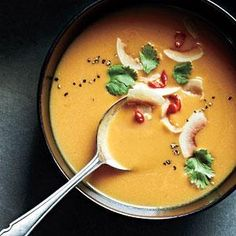 Our Curried Butternut Soup delivers all the same luscious, silky flavors of its creamy version but without the butter and cream. By roasting the butternut squash and simmering in chicken stock, we are able to intensify and balance the flavors in this soup.